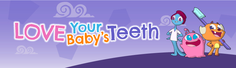 Love Your Baby's Teeth. Mouth Monsters grinning with toothbrush.