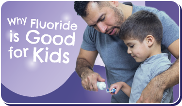 Why Fluoride is Good for Kids button. Image of Latino dad squeezing toothpaste onto toddler son's toothbrush.