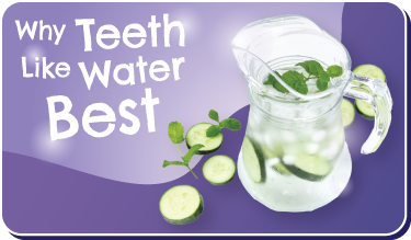 Why Teeth Like Water Best button. Image of pitcher of ice water with sliced cucumber and mint in it.